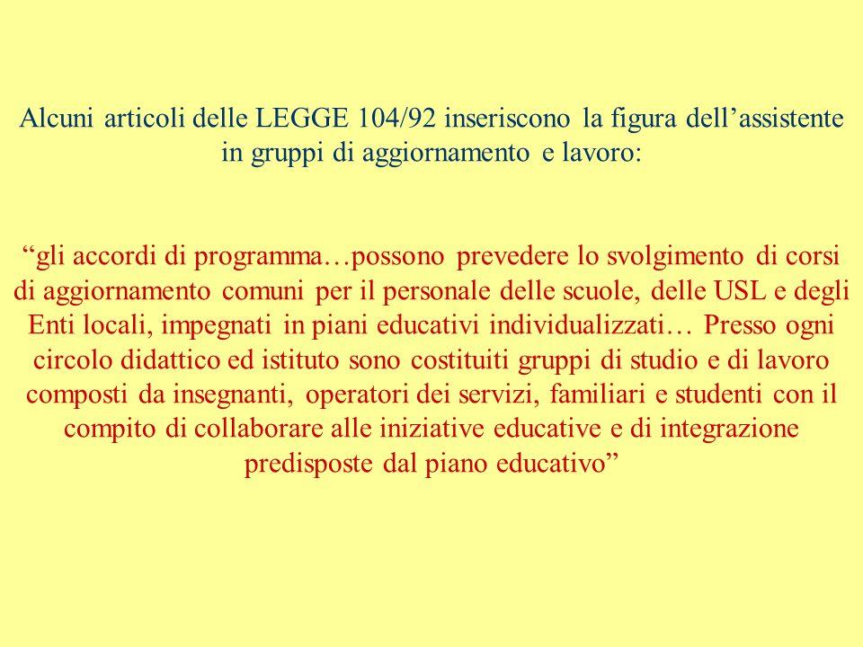 Alcuni articoli delle LEGGE 104/92 inseriscono la figura dellassistente in gruppi di aggiornamento e lavoro: gli accordi di programma…possono preveder