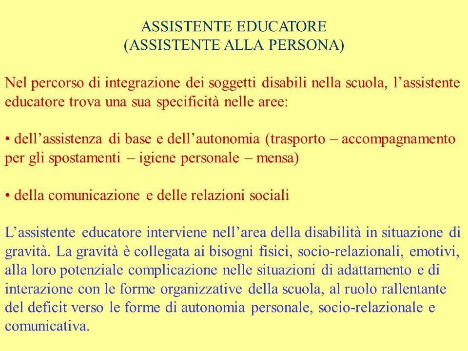 ASSISTENTE EDUCATORE (ASSISTENTE ALLA PERSONA) Nel percorso di integrazione dei soggetti disabili nella scuola, lassistente educatore trova una sua sp