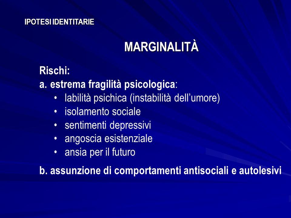 IPOTESI IDENTITARIE MARGINALITÀ Rischi: a.estrema fragilità psicologica : labilità psichica (instabilità dellumore) isolamento sociale sentimenti depr