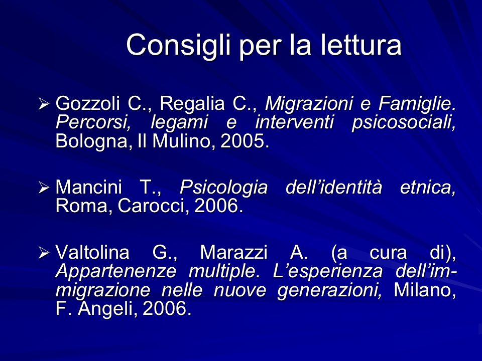 Consigli per la lettura Gozzoli C., Regalia C., Migrazioni e Famiglie. Percorsi, legami e interventi psicosociali, Bologna, Il Mulino, 2005. Gozzoli C