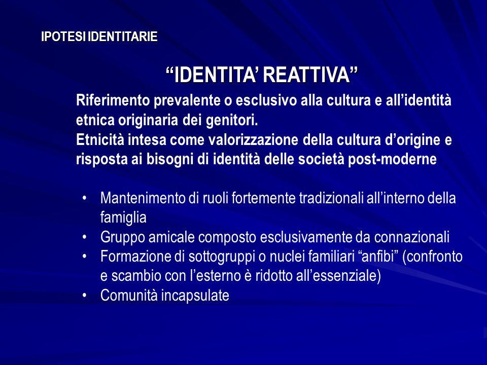 IPOTESI IDENTITARIE IDENTITA REATTIVA Riferimento prevalente o esclusivo alla cultura e allidentità etnica originaria dei genitori. Etnicità intesa co