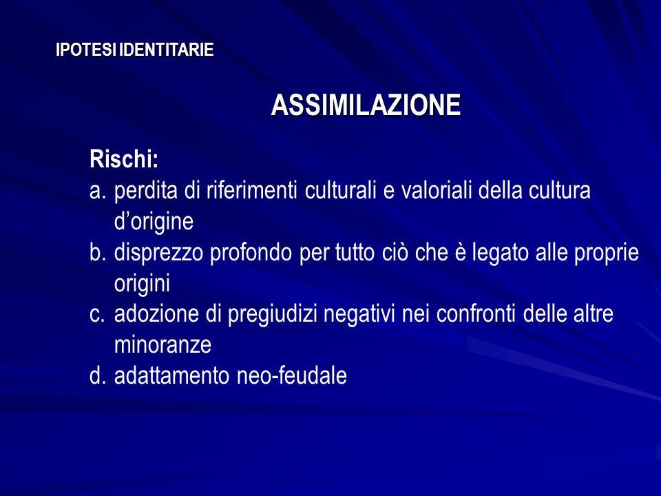 IPOTESI IDENTITARIE ASSIMILAZIONE Rischi: a.perdita di riferimenti culturali e valoriali della cultura dorigine b.disprezzo profondo per tutto ciò che