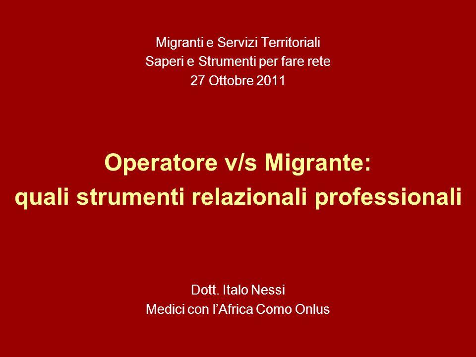 Migranti e Servizi Territoriali Saperi e Strumenti per fare rete 27 Ottobre 2011 Operatore v/s Migrante: quali strumenti relazionali professionali Dott.