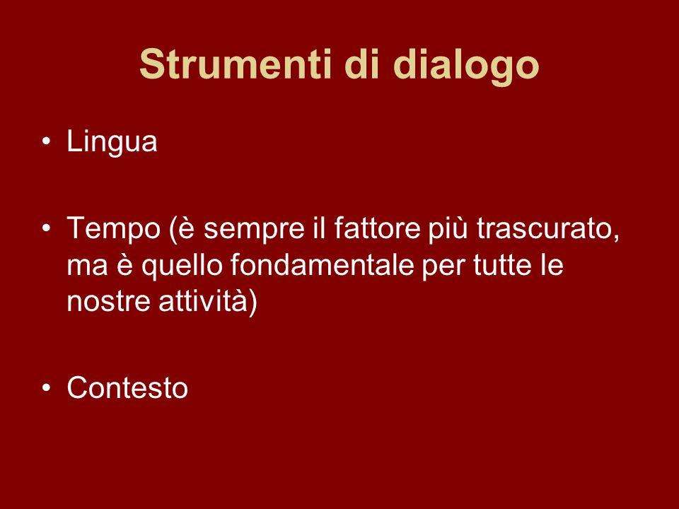 Strumenti di dialogo Lingua Tempo (è sempre il fattore più trascurato, ma è quello fondamentale per tutte le nostre attività) Contesto