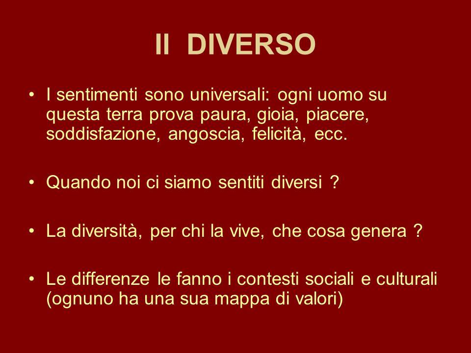 Il DIVERSO Pregiudizi razziali: il modo, la parola con cui indichiamo una persona, un gruppo etnico o culturale indica la rappresentazione mentale che ne abbiamo (positiva, neutra, negativa).