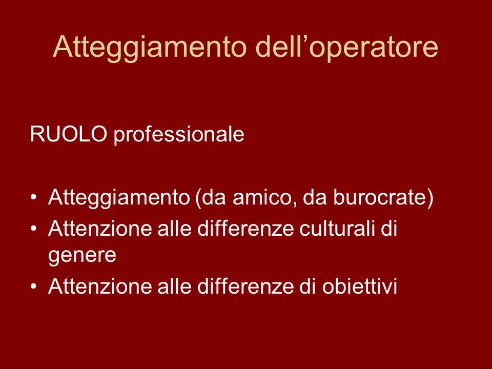 Atteggiamento delloperatore RUOLO professionale Atteggiamento (da amico, da burocrate) Attenzione alle differenze culturali di genere Attenzione alle differenze di obiettivi