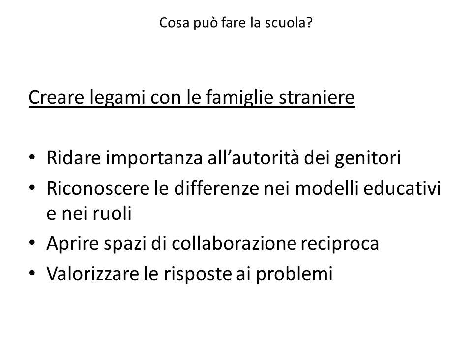 Cosa può fare la scuola? Creare legami con le famiglie straniere Ridare importanza allautorità dei genitori Riconoscere le differenze nei modelli educ