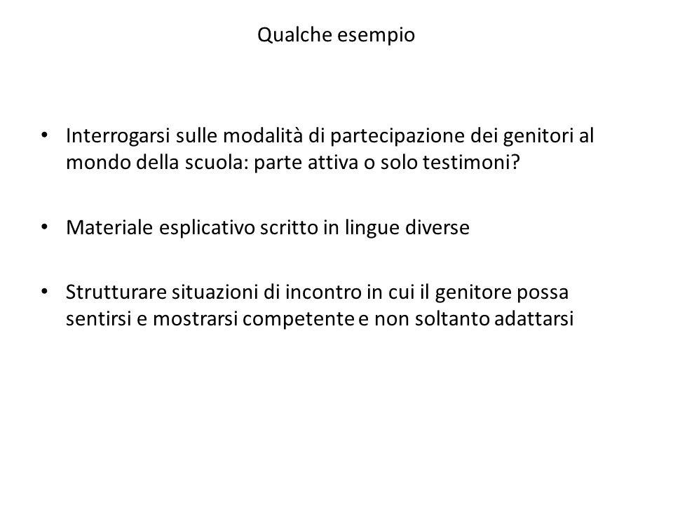 Qualche esempio Interrogarsi sulle modalità di partecipazione dei genitori al mondo della scuola: parte attiva o solo testimoni? Materiale esplicativo