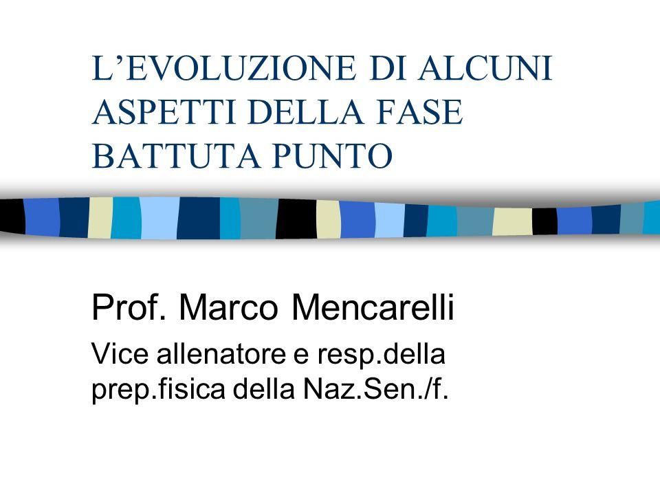 LEVOLUZIONE DI ALCUNI ASPETTI DELLA FASE BATTUTA PUNTO Prof. Marco Mencarelli Vice allenatore e resp.della prep.fisica della Naz.Sen./f.