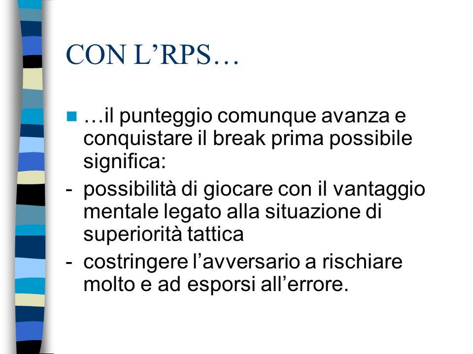 CON LRPS… …il punteggio comunque avanza e conquistare il break prima possibile significa: - possibilità di giocare con il vantaggio mentale legato all