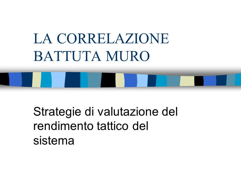 LA CORRELAZIONE BATTUTA MURO Strategie di valutazione del rendimento tattico del sistema