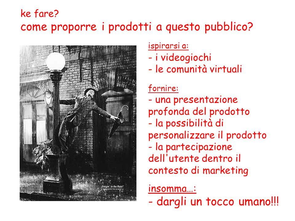 ispirarsi a: - i videogiochi - le comunità virtuali fornire: - una presentazione profonda del prodotto - la possibilità di personalizzare il prodotto