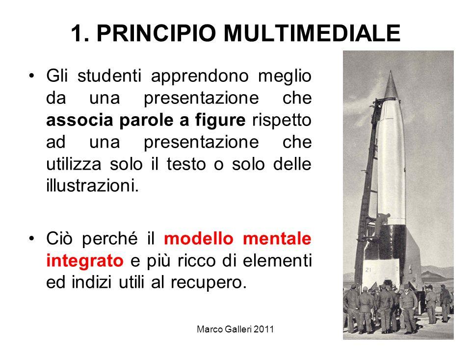 Marco Galleri 20114 1. PRINCIPIO MULTIMEDIALE Gli studenti apprendono meglio da una presentazione che associa parole a figure rispetto ad una presenta