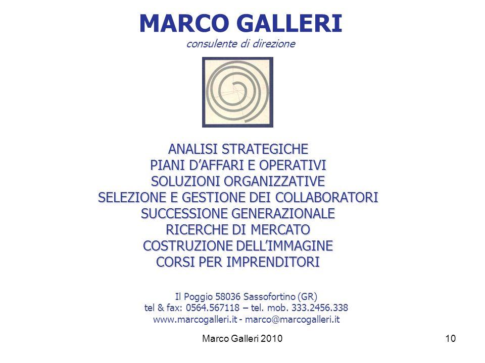 MARCO GALLERI consulente di direzione Il Poggio 58036 Sassofortino (GR) tel & fax: 0564.567118 – tel. mob. 333.2456.338 www.marcogalleri.it - marco@ma