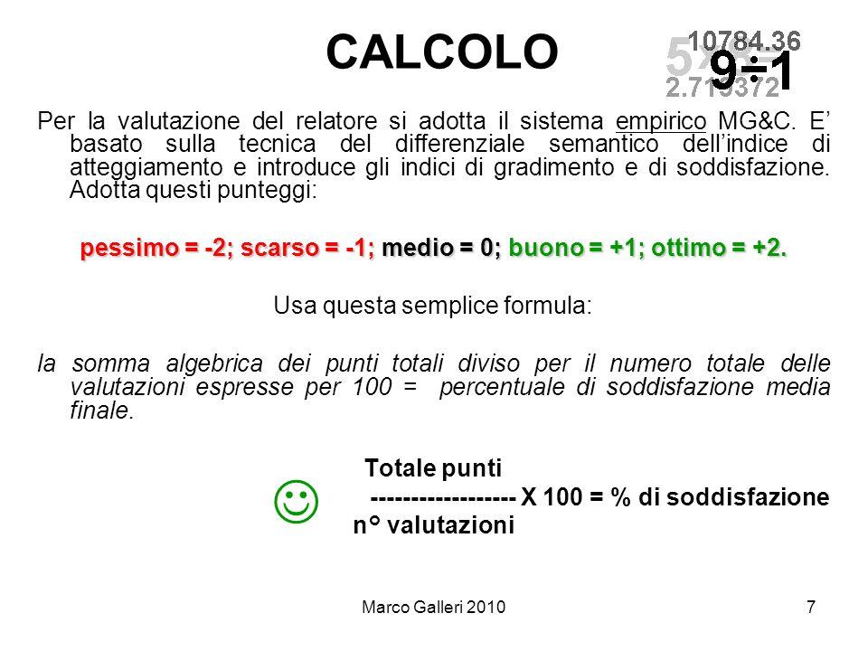 Marco Galleri 20107 CALCOLO Per la valutazione del relatore si adotta il sistema empirico MG&C. E basato sulla tecnica del differenziale semantico del