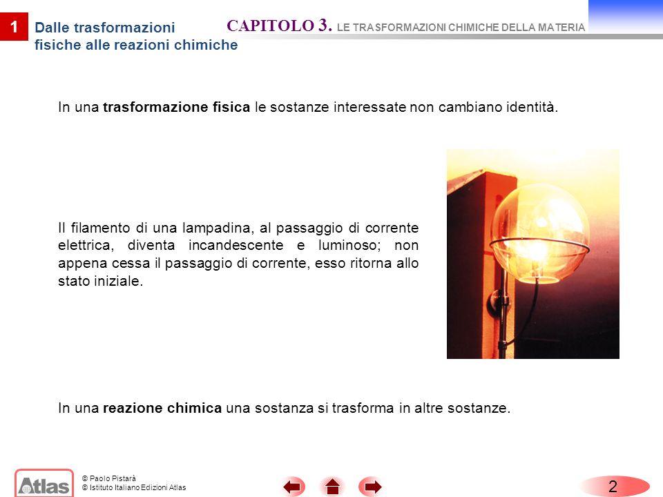 © Paolo Pistarà © Istituto Italiano Edizioni Atlas In una trasformazione fisica le sostanze interessate non cambiano identità. 2 1 Il filamento di una