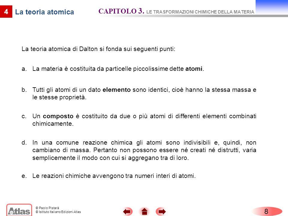 © Paolo Pistarà © Istituto Italiano Edizioni Atlas 8 CAPITOLO 3. LE TRASFORMAZIONI CHIMICHE DELLA MATERIA 4 La teoria atomica di Dalton si fonda sui s