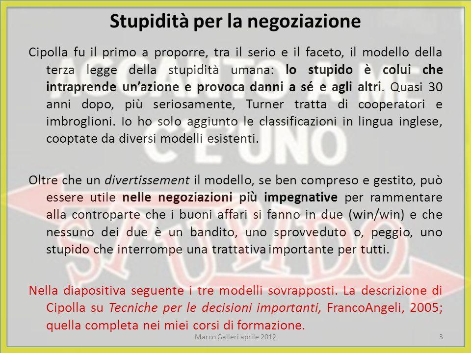 Stupidità per la negoziazione Cipolla fu il primo a proporre, tra il serio e il faceto, il modello della terza legge della stupidità umana: lo stupido