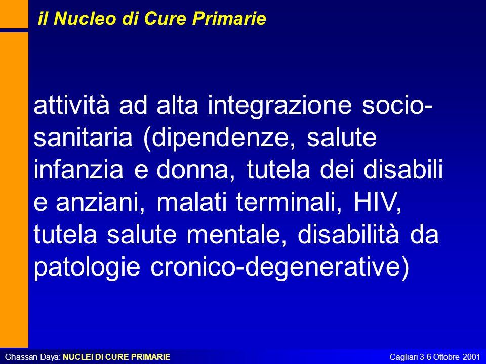 Ghassan Daya: NUCLEI DI CURE PRIMARIECagliari 3-6 Ottobre 2001 attività ad alta integrazione socio- sanitaria (dipendenze, salute infanzia e donna, tu