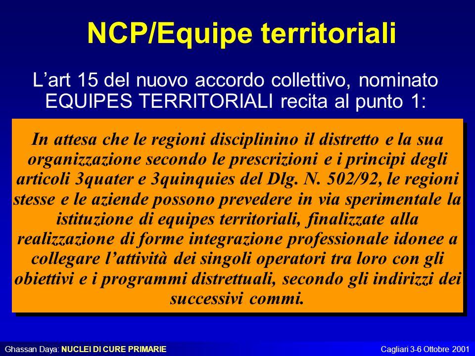 Ghassan Daya: NUCLEI DI CURE PRIMARIECagliari 3-6 Ottobre 2001 NCP/Equipe territoriali Lart 15 del nuovo accordo collettivo, nominato EQUIPES TERRITOR