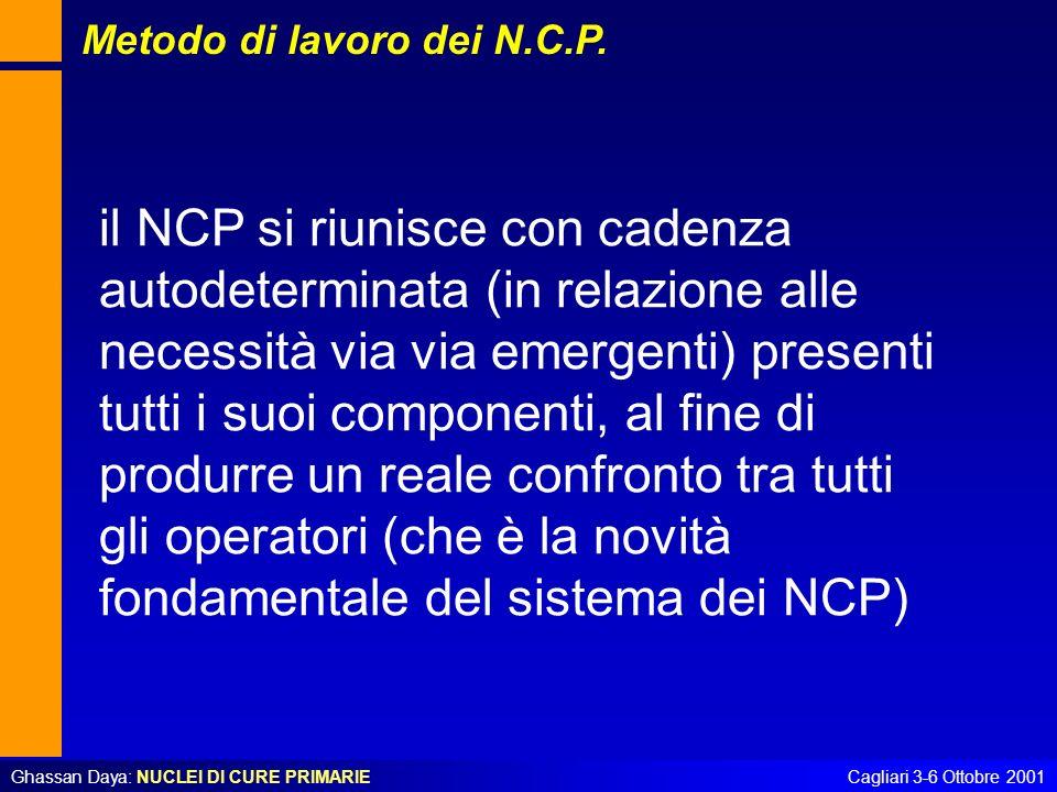 Ghassan Daya: NUCLEI DI CURE PRIMARIECagliari 3-6 Ottobre 2001 il NCP si riunisce con cadenza autodeterminata (in relazione alle necessità via via eme