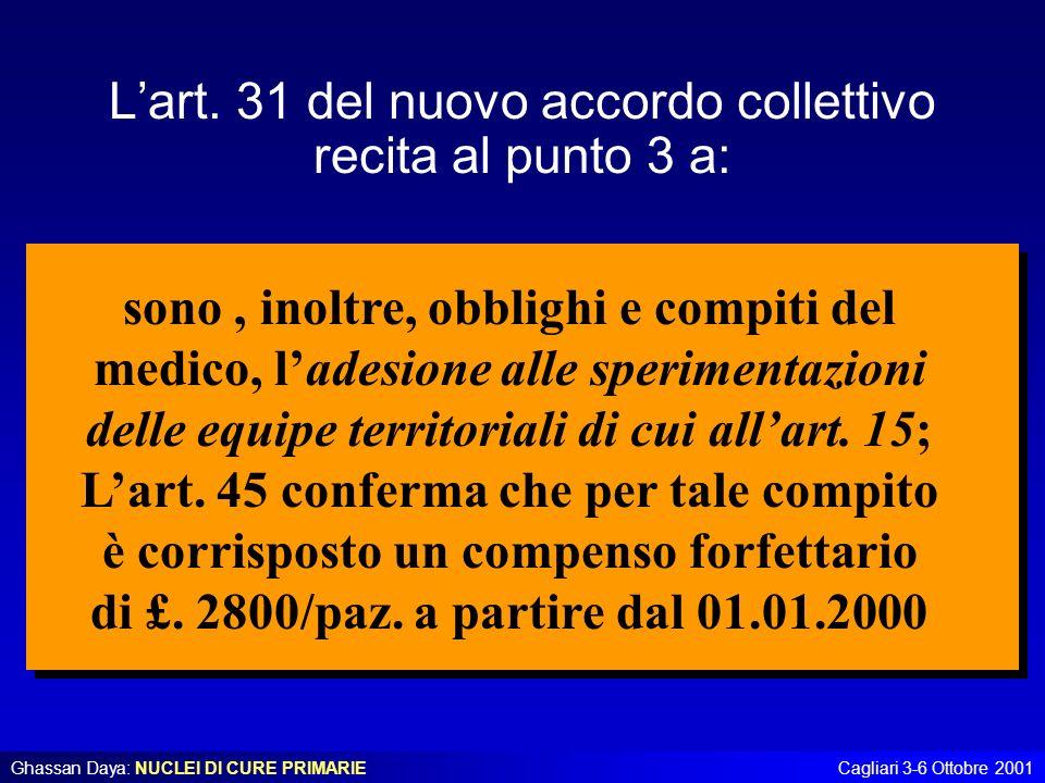 Ghassan Daya: NUCLEI DI CURE PRIMARIECagliari 3-6 Ottobre 2001 Lart. 31 del nuovo accordo collettivo recita al punto 3 a: sono, inoltre, obblighi e co