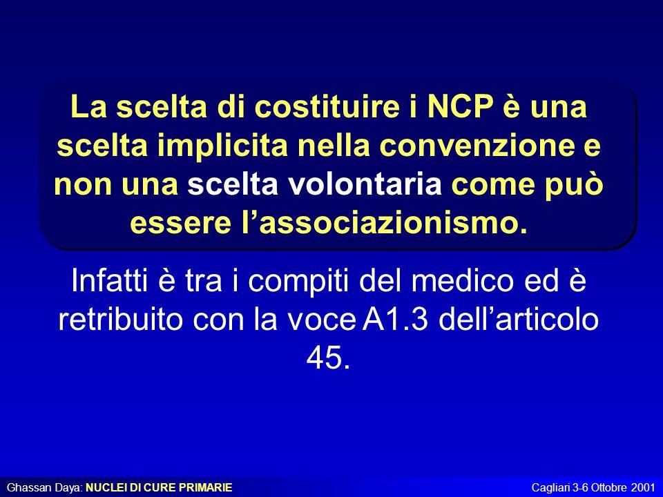 Ghassan Daya: NUCLEI DI CURE PRIMARIECagliari 3-6 Ottobre 2001 La scelta di costituire i NCP è una scelta implicita nella convenzione e non una scelta