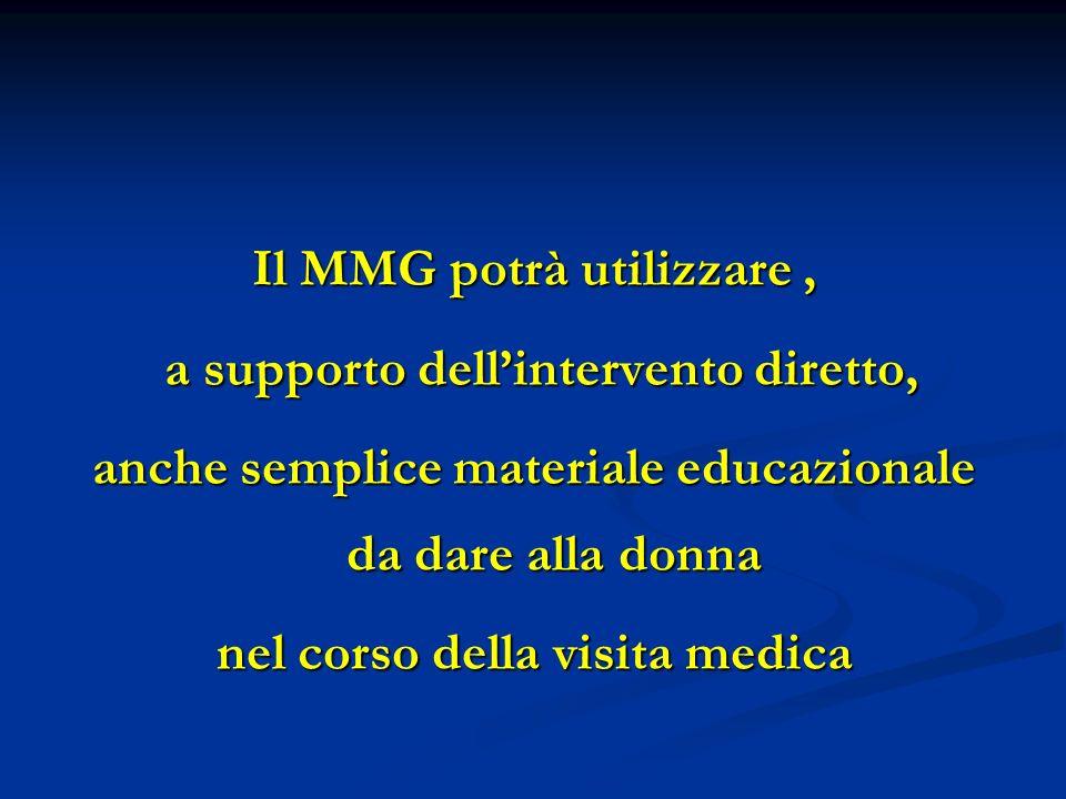 Il MMG potrà utilizzare, a supporto dellintervento diretto, a supporto dellintervento diretto, anche semplice materiale educazionale da dare alla donna nel corso della visita medica