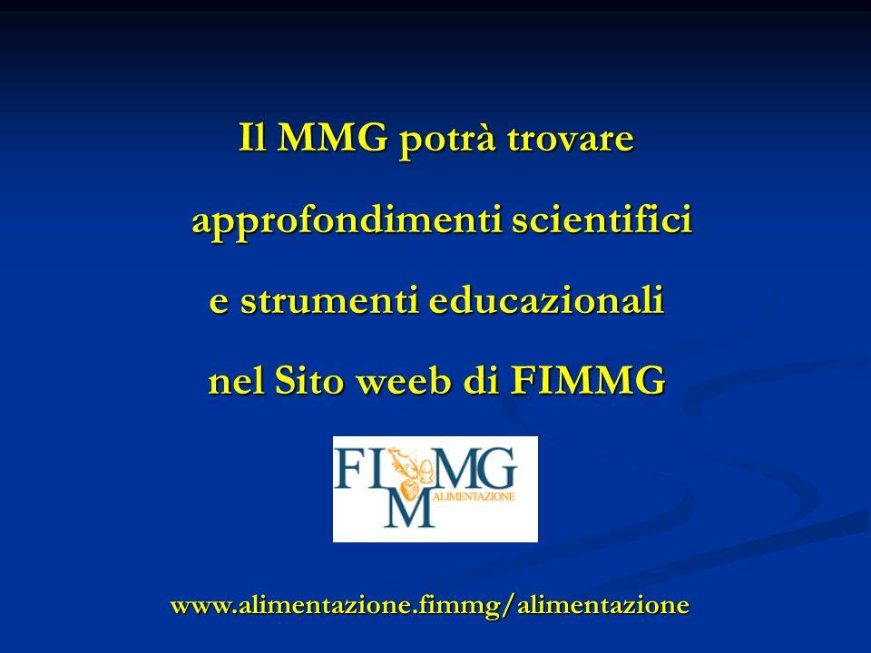 Il MMG potrà trovare approfondimenti scientifici approfondimenti scientifici e strumenti educazionali nel Sito weeb di FIMMG www.alimentazione.fimmg/alimentazione