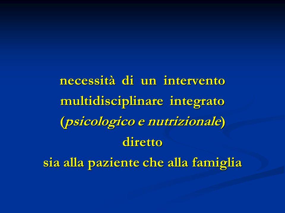 necessità di un intervento multidisciplinare integrato (psicologico e nutrizionale) diretto sia alla paziente che alla famiglia