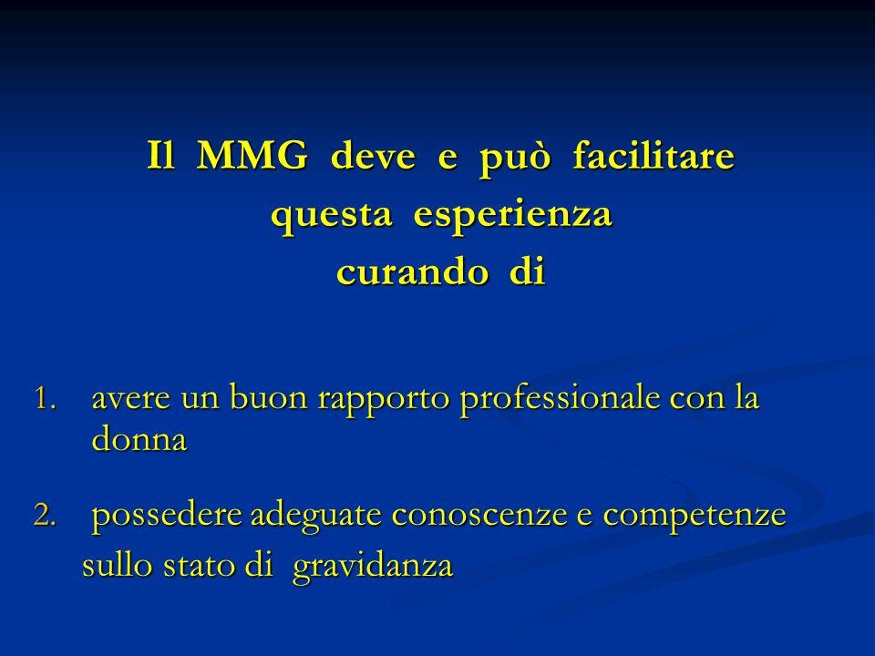 Il MMG deve e può facilitare questa esperienza curando di 1.