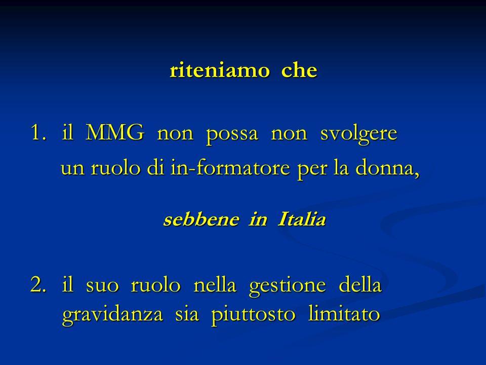 riteniamo che 1.il MMG non possa non svolgere un ruolo di in-formatore per la donna, un ruolo di in-formatore per la donna, sebbene in Italia 2.il suo ruolo nella gestione della gravidanza sia piuttosto limitato