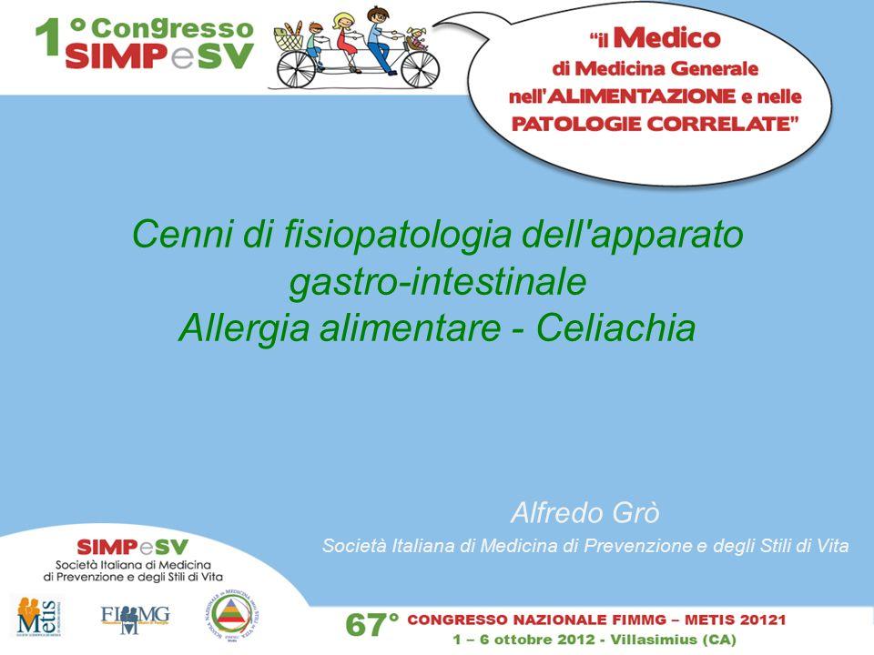 Cenni di fisiopatologia dell'apparato gastro-intestinale Allergia alimentare - Celiachia Alfredo Grò Società Italiana di Medicina di Prevenzione e deg