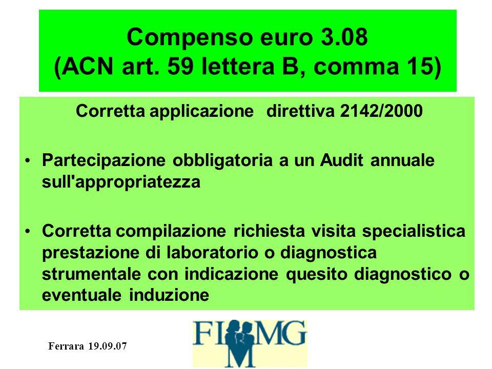 Ferrara 19.09.07 Compenso euro 3.08 (ACN art. 59 lettera B, comma 15) Corretta applicazione direttiva 2142/2000 Partecipazione obbligatoria a un Audit