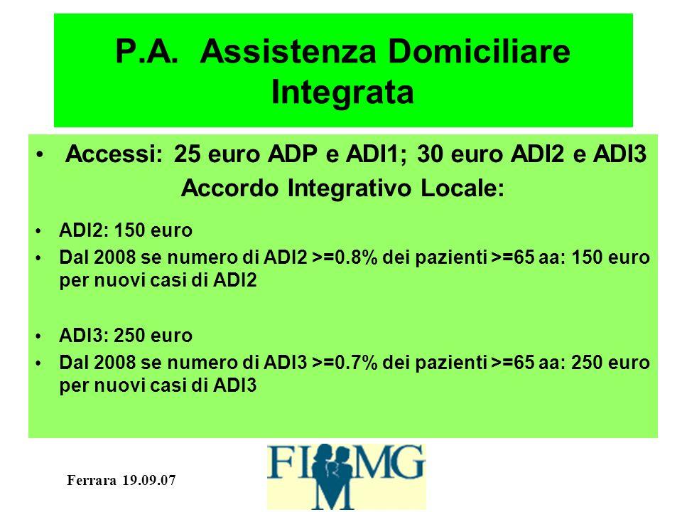 Ferrara 19.09.07 P.A. Assistenza Domiciliare Integrata Accessi: 25 euro ADP e ADI1; 30 euro ADI2 e ADI3 Accordo Integrativo Locale: ADI2: 150 euro Dal