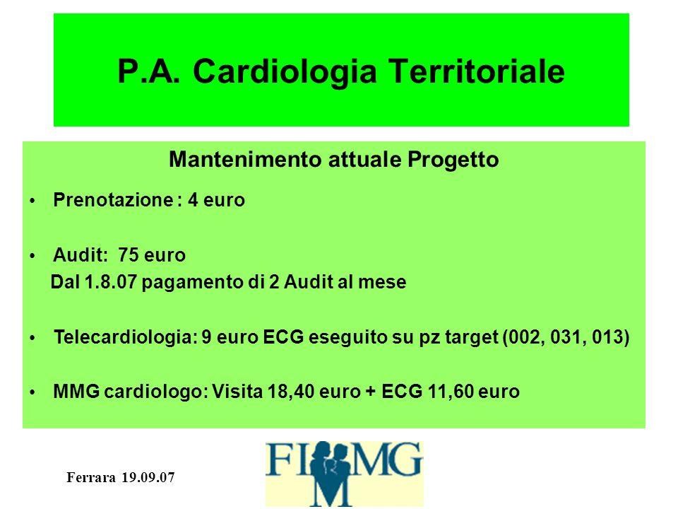 Ferrara 19.09.07 P.A. Cardiologia Territoriale Mantenimento attuale Progetto Prenotazione : 4 euro Audit: 75 euro Dal 1.8.07 pagamento di 2 Audit al m