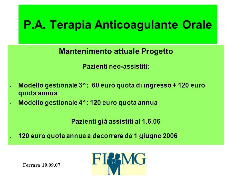 Ferrara 19.09.07 P.A. Terapia Anticoagulante Orale Mantenimento attuale Progetto Pazienti neo-assistiti: Modello gestionale 3^: 60 euro quota di ingre