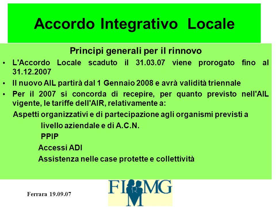 Ferrara 19.09.07 Accordo Locale 2004-2006 Associazioni Mediche Ammissibili e incentivate come da A.C.N.