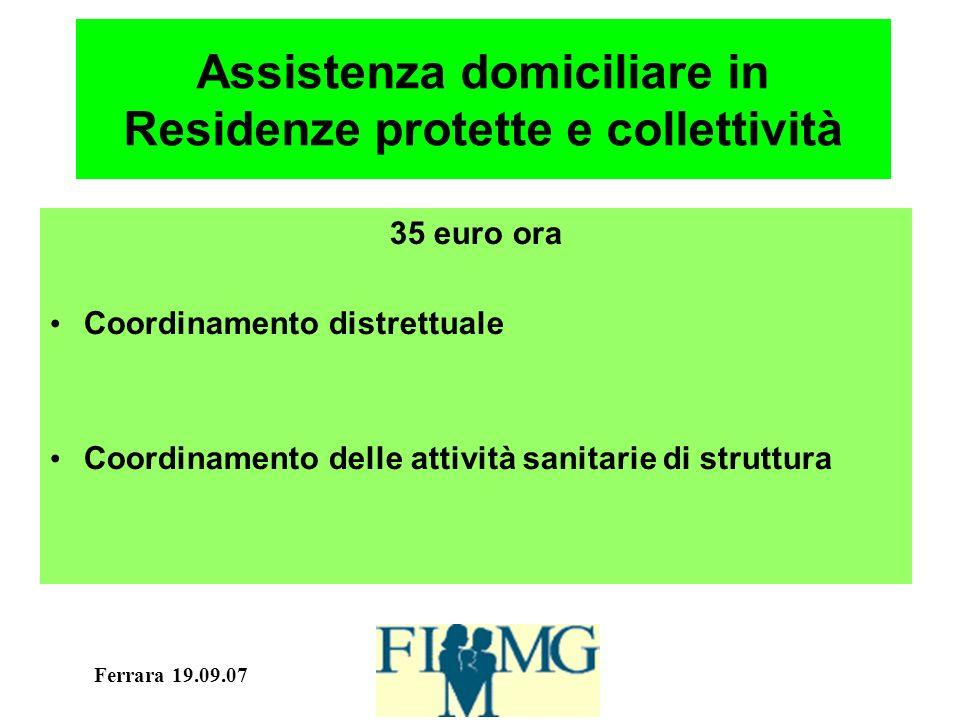 Ferrara 19.09.07 Assistenza domiciliare in Residenze protette e collettività 35 euro ora Coordinamento distrettuale Coordinamento delle attività sanitarie di struttura