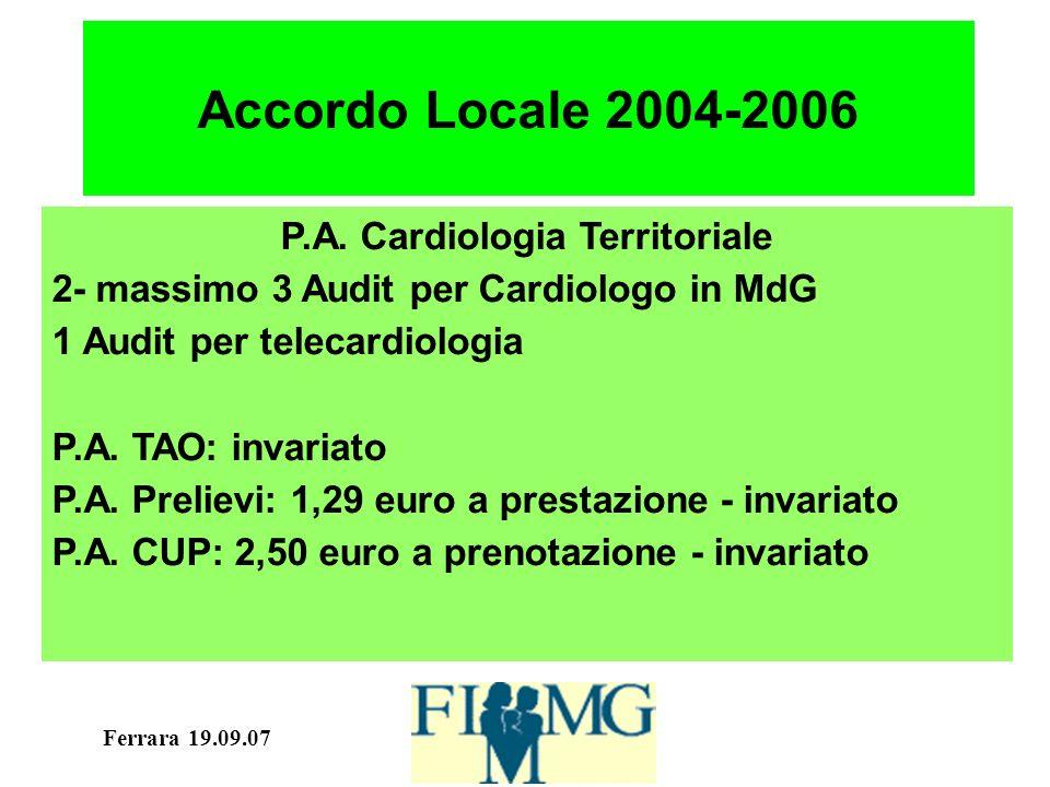 Ferrara 19.09.07 Accordo Locale 2004-2006 P.A. Cardiologia Territoriale 2- massimo 3 Audit per Cardiologo in MdG 1 Audit per telecardiologia P.A. TAO: