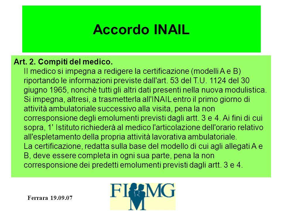 Ferrara 19.09.07 Accordo INAIL Art. 2. Compiti del medico.