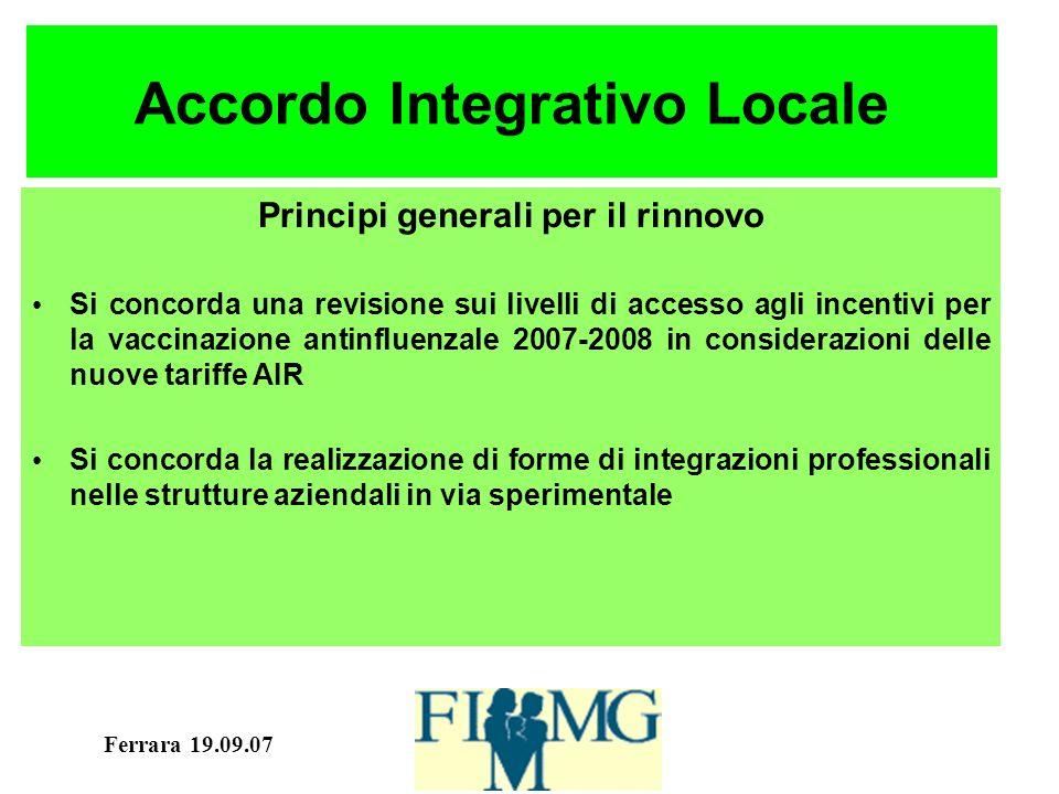 Ferrara 19.09.07 Accordo Locale 2004-2006 P.A.Diabete: 85 euro a diabetico P.A.