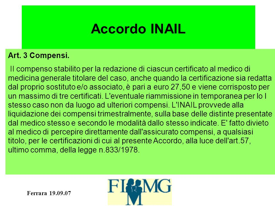 Ferrara 19.09.07 Accordo INAIL Art. 3 Compensi.