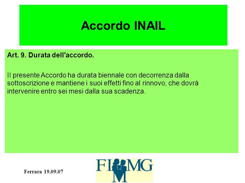 Ferrara 19.09.07 Accordo INAIL Art. 9. Durata dell accordo.