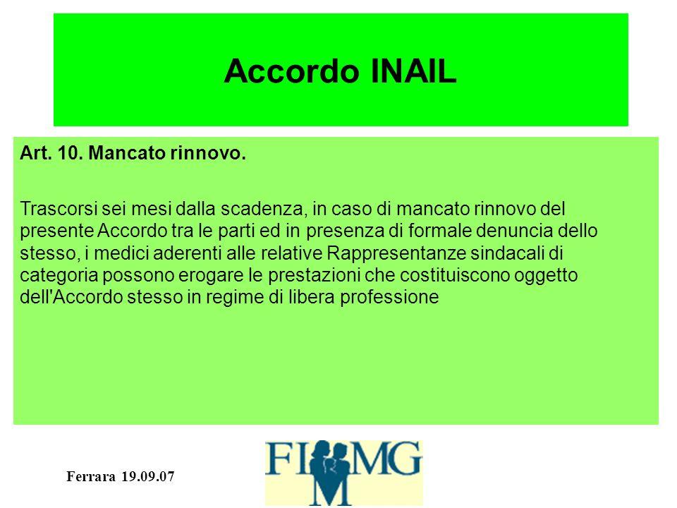 Ferrara 19.09.07 Accordo INAIL Art. 10. Mancato rinnovo.