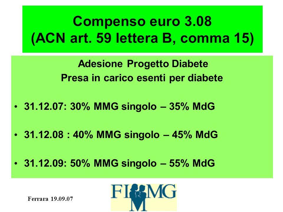 Ferrara 19.09.07 Compenso euro 3.08 (ACN art. 59 lettera B, comma 15) Adesione Progetto Diabete Presa in carico esenti per diabete 31.12.07: 30% MMG s