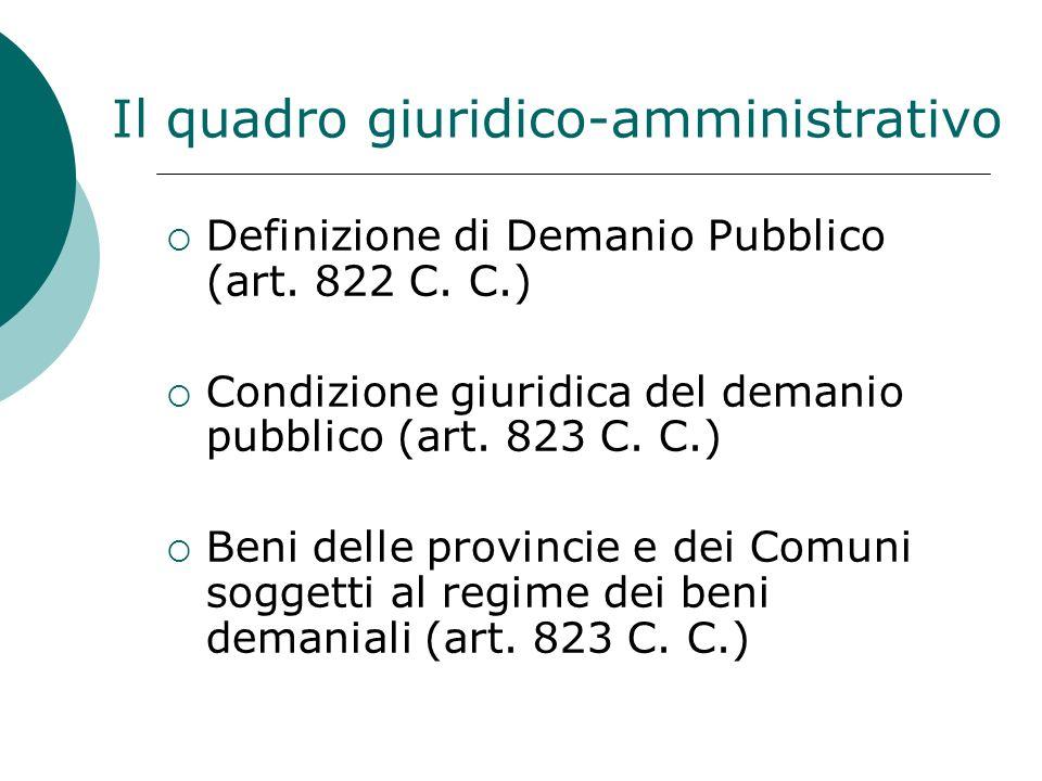Il quadro giuridico-amministrativo Definizione di Demanio Pubblico (art.