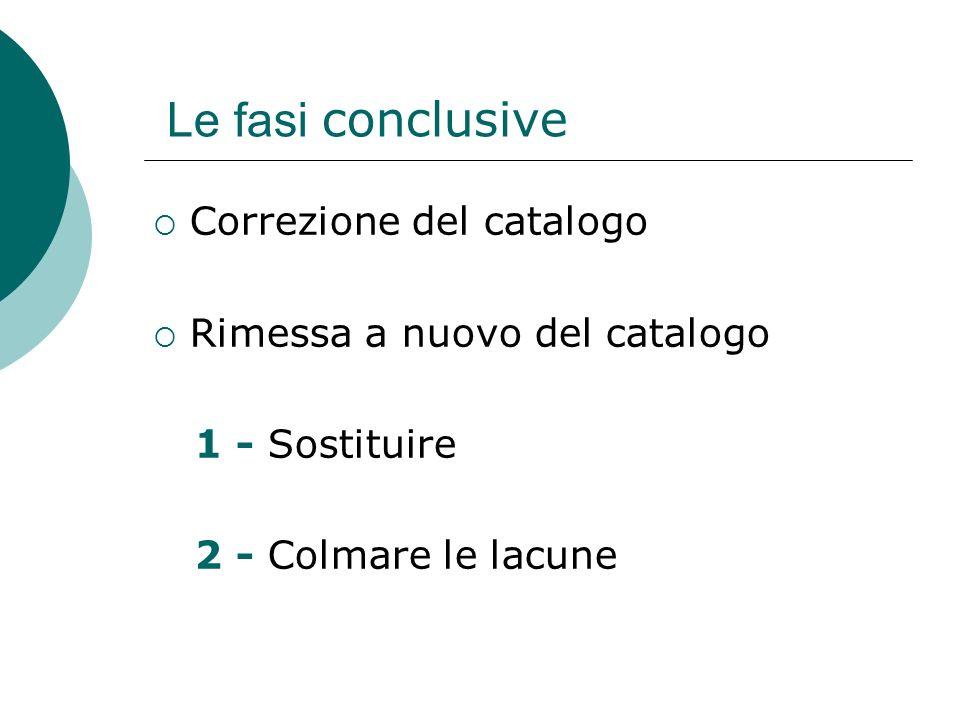 Le fasi conclusive Correzione del catalogo Rimessa a nuovo del catalogo 1 - Sostituire 2 - Colmare le lacune