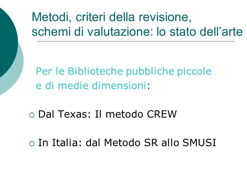 Metodi, criteri della revisione, schemi di valutazione: lo stato dellarte Per le Biblioteche pubbliche piccole e di medie dimensioni: Dal Texas: Il metodo CREW In Italia: dal Metodo SR allo SMUSI