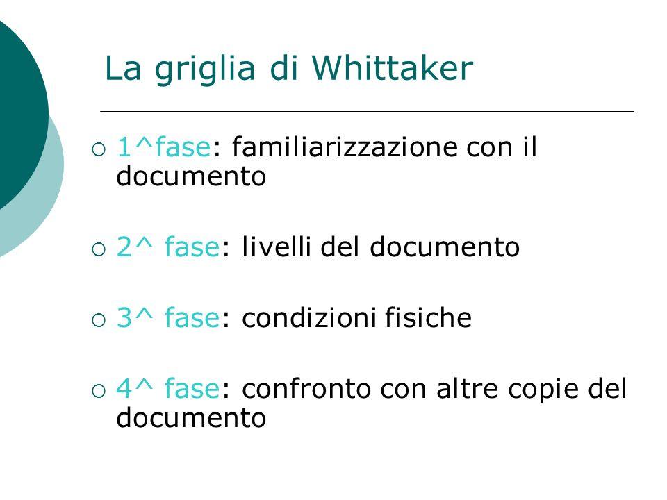 La griglia di Whittaker 1^fase: familiarizzazione con il documento 2^ fase: livelli del documento 3^ fase: condizioni fisiche 4^ fase: confronto con altre copie del documento